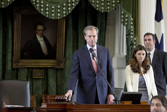 Former Texas Lt. Gov. David Dewhurst gaveled the Senate out for the 83rd regular session in 2013. Dewhurst was arrested in Dallas this week on a domestic violence charge, according to police. - MARJORIE KAMYS COTERA / TEXAS TRIBUNE