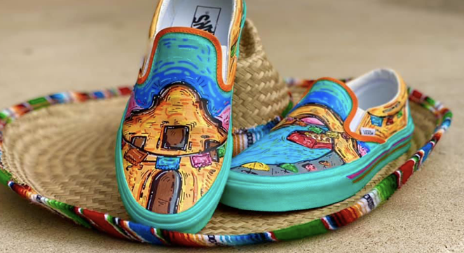 High school student Roger Zamarripa Jr. has entered Vans' Custom Culture competition with a puro SA design. - FACEBOOK / ROGER ZAMARRIPA JR.
