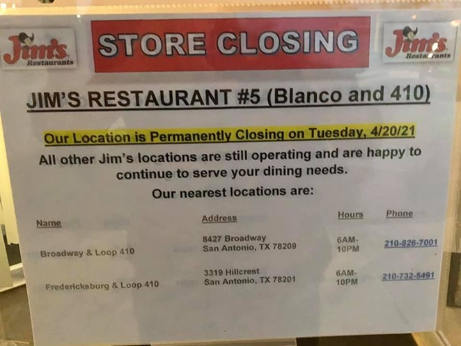 The Jim's location at 410 and Blanco closed its doors for good Tuesday. - FACEBOOK / ALAN PARRISH