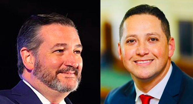 U.S. Sen. Ted Cruz (left) and U.S. Rep. Tony Gonzales earned poor marks on a report card issued by a group of anti-Trump Republicans. - WIKIMEDIA COMMONS / GAGE SKIDMORE (LEFT) AND COURTESY / TONY GONZALES (RIGHT)