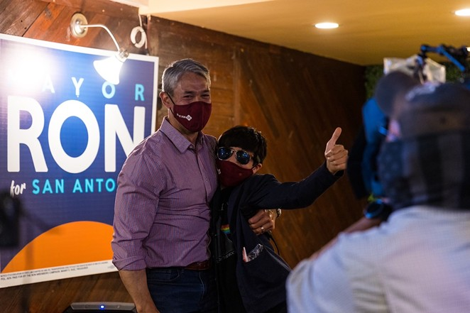 Ron Nirenberg celebrates victory at his watch party at the Backyard on Broadway. - CHRIS STOKES / SAN ANTONIO HERON CONTRIBUTOR