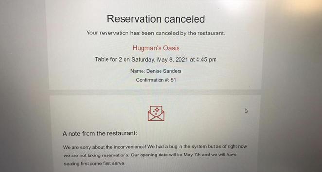 Hugman's Oasis is no longer taking reservations for opening night. - FACEBOOK / DENISE SANDERS
