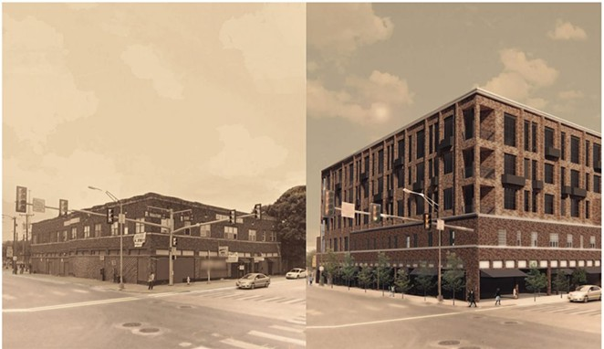 This comparison photo shows the Rich Book building and a proposed replacement development at 900 W. Houston St. - COURTESY IMAGE / GOMEZ VAZQUEZ INTERNATIONAL