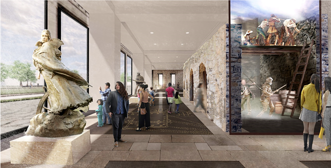 A conceptual rendering of the lobby of the Alamo Visitor Center and Museum, including a full-scale recreation of the historic fort walls. - COURTESY / ALAMO TRUST
