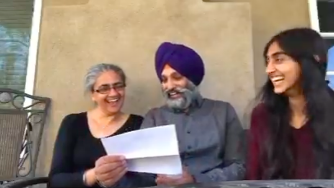 Gurjiv Kaur shares her acceptance letter into University of the Incarnate Word's Rosenberg School of Optometry with her overjoyed parents. - TWITTER / JEEEVERZ