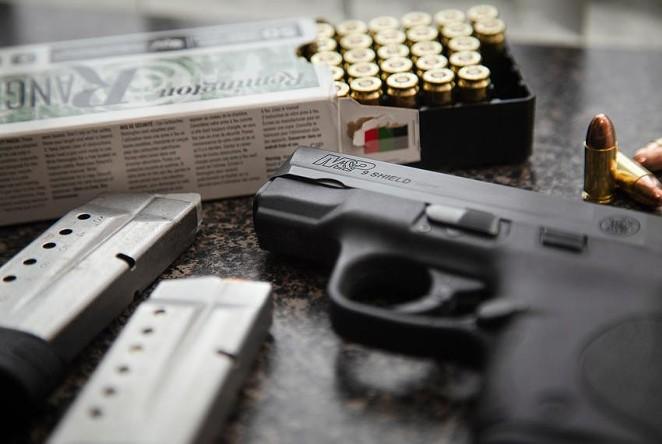 A M&P Shield handgun in Austin on April 23, 2021. - TEXAS TRIBUNE / EVAN L'ROY