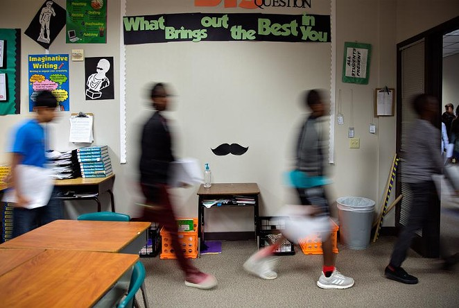 Students leave the classroom to work in the computer lab at Mata Intermediate School. - TEXAS TRIBUNE / PU YING HUANG