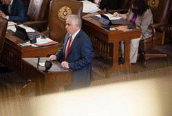 State Rep. Bryan Slaton, R-Royse City, on the House floor in April. Slaton has repeatedly attempted to add amendments pertaining to transgender Texans to other bills this session. Credit: Evan L'Roy/The Texas Tribune - TEXAS TRIBUNE / EVAN L'ROY