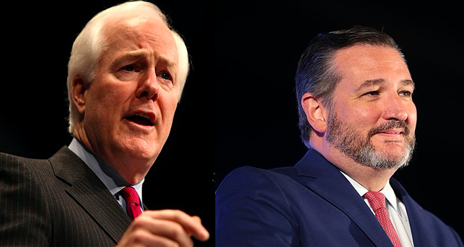 John Cornyn and Ted Cruz were among the 35 U.S. Senators who voted to create a 9/11-style commission to investigate the Capitol insurrection. - WIKIMEDIA COMMONS / GAGE SKIDMORE