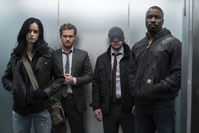 Three of Marvel's Defenders will be in attendance at Celebrity Fan Fest: Krysten Ritter (left), Charlie Cox (second from right) and Mike Colter (right). - NETFLIX