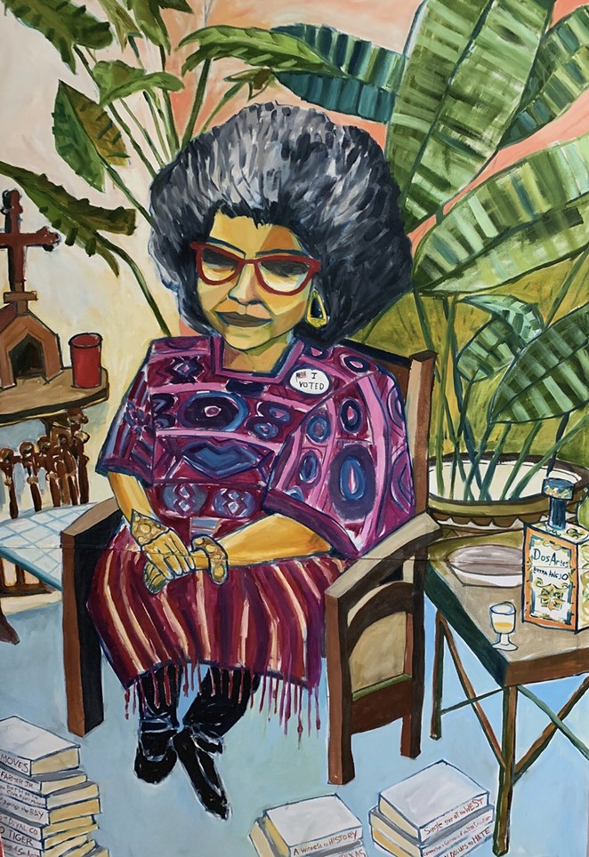 "Cruz Ortiz, Dr. Ellen Riojas Clark, 2020, 109 x 74"", Oil on canvas, Courtesy of artist and Nancy Littlejohn Fine Art, Houston, TX - COURTESY OF BLUE STAR CONTEMPORARY"