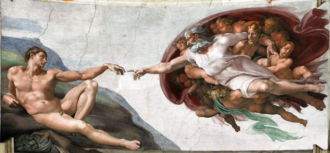 """""""The Creation of Adam"""" is among the Sistine Chapel frescoes recreated in the traveling exhibition. - WIKIMEDIA COMMONS"""