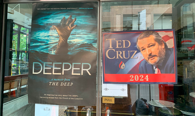 """A presidential poster for U.S. Sen. Ted Cruz is among the satirical ads splashed around the set of the third season of """"The Boys."""" - TWITTER / @TOFILMING_EM"""
