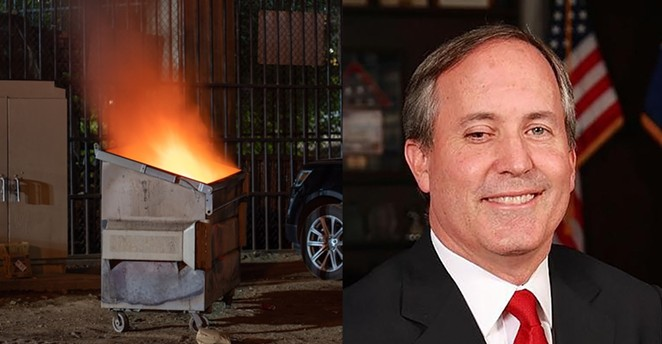 Can you tell the difference? An dumpster fire is running against to unseat current Texas AG Ken Paxton, who's turned his office into a dumpster fire. - SHUTTERSTOCK (LEFT) / COURTESY PHOTO: TEXAS ATTORNEY GENERAL'S OFFICE