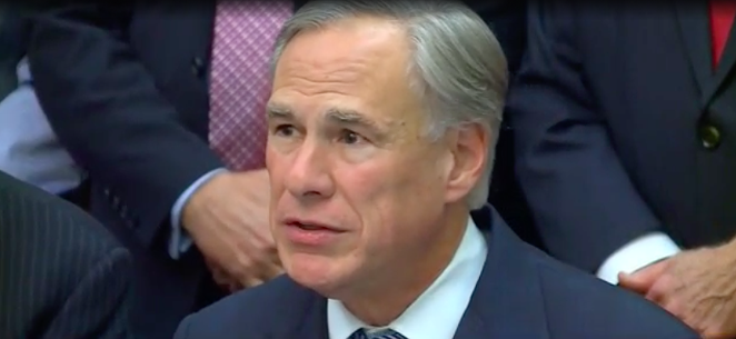 Gov. Greg Abbott amps up the rhetoric during Wednesday's news conference about a Texas border wall. - SCREEN CAPTURE / KXAN-TV