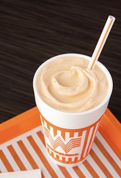 Whataburger's Peaches & Cream Shake is now available. - COURTESY WHATABURGER