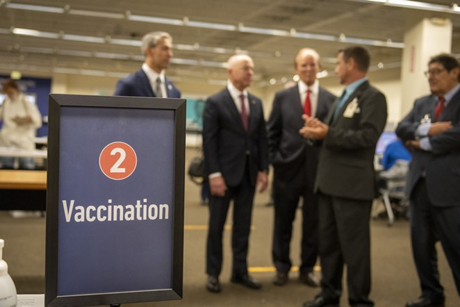 Homeland Security Secretary Alejandro Mayorkas (second from left) tours the mass vaccination site at San Antonio's Wonderland of the Americas mall. - TWITTER / SECMAYORKAS