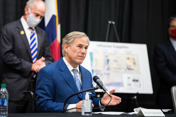 Gov. Greg Abbott makes his squinty face at a press event so people will know he's being tough. - COURTESY PHOTO / TEXAS GOVERNOR'S OFFICE