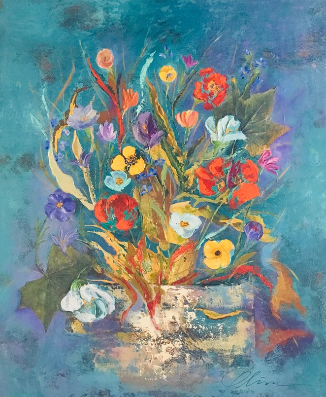 """Carmen Oliver's """"For the Love of Flowers"""" features nostalgic paintings of flower arrangements. - COURTESY OF BIHL HAUS ARTS"""