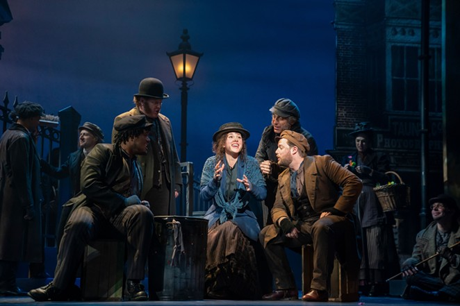 Shavey Brown, Mark Aldrich, Shereen Ahmed (center), William Michals and Colin Anderson in The Lincoln Center Theater Production of Lerner & Loewe's My Fair Lady. - JOAN MARCUS