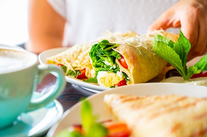 Creppecino is serving breakfast items including this egg Florentine crêpe. - PHOTO COURTESY CREPPECINO