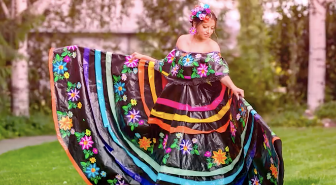 Houston-born Larissa Leon has snagged a $10,000 scholarship for her work on this SA Fiesta-worthy dress. - INSTAGRAM / THEDUCKBRAND