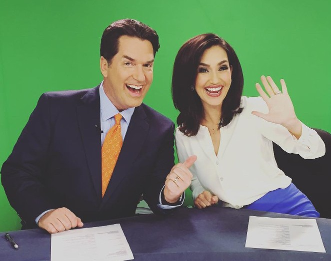Isis Romero (right) shared the 10 p.m. anchor desk with Steve Spriester (left). Spriester is still at the station. - INSTAGRAM / ISIS ROMERO