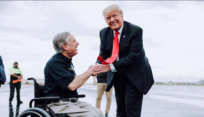 Gov. Greg Abbott (left) shakes hands with former President Donald Trump during a border photo op in late June. - INSTAGRAM / @GOVERNORABBOTT