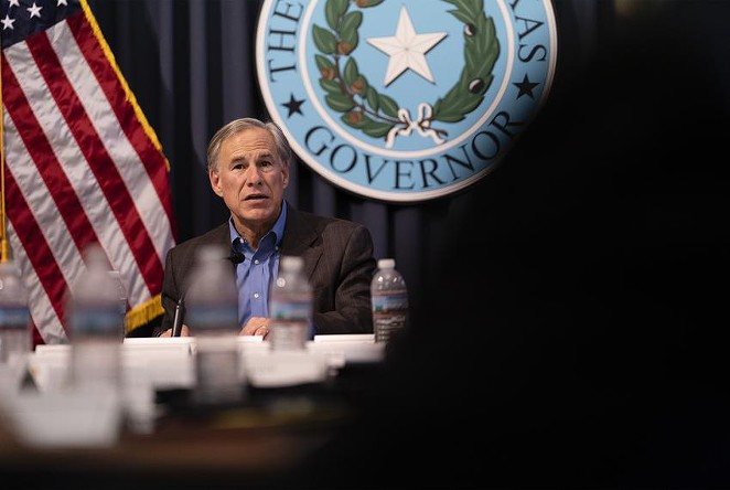 Gov. Greg Abbott holds a border security briefing with sheriffs from border communities at the Texas Capitol on July 10, 2021. - THE TEXAS TRIBUNE / SOPHIE PARK