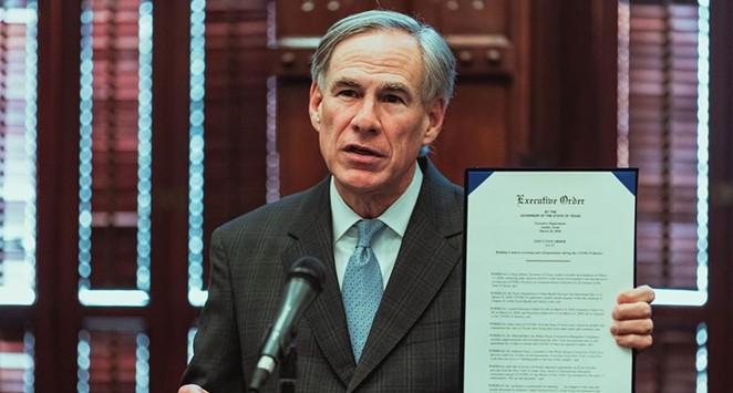 Order Up: Gov. Greg Abbott displays another executive order he signed last year. - INSTAGRAM / @GOVERNORABBOTT