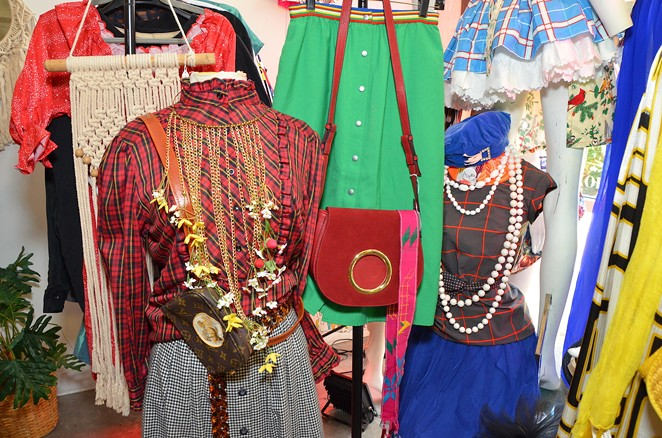The displays at Augustine showcase Cuellar's eclectic fashion sense. - BRYAN RINDFUSS