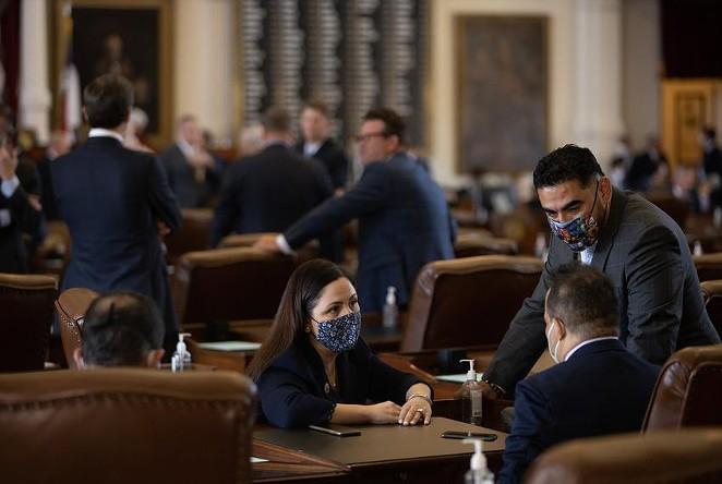 From left: Houston democratic state Reps. Ana Hernandez, Garnet Coleman, and Armando Lucio Walle on the House floor on Aug. 23, 2021. - TEXAS TRIBUNE / EDDIE GASPAR