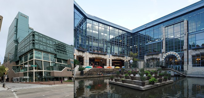 Baltimore's flagging Harborplace is on the left, and San Antonio's Rivercenter Mall is on  the right. Notice any similarities? - WIKIMEDIA COMMONS / TASTYPOUTINE (LEFT), MICHAEL BARERA (RIGHT)