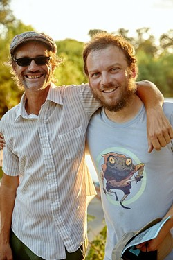 Jeff Wheeler (left) and Justin Parr hang out under the bridge in late August. - SA HERON / TYLER SMITH