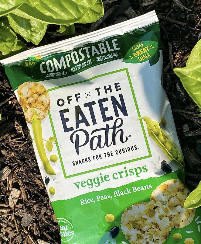 The packaging is being piloted on specially-marked Off The Eaten Path Chickpea Veggie Crisps. - INSTAGRAM / OFFTHEEATENPATHSNACKS