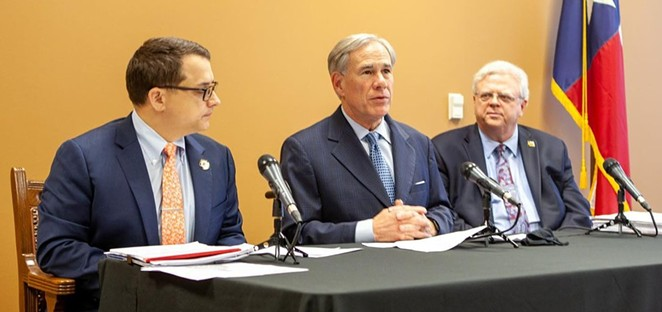 Gov. Greg Abbott (center) appears with State Rep. Briscoe Cain (left) and Sen. Paul Bettencourt, Republican lawmakers who pushed the state's restrictive new voting laws. - INSTAGRAM / GOVABBOTT