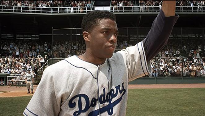 Chadwick Boseman stars as Jackie Robinson in sports drama 42. - WARNER BROS. HOME ENTERTAINMENT