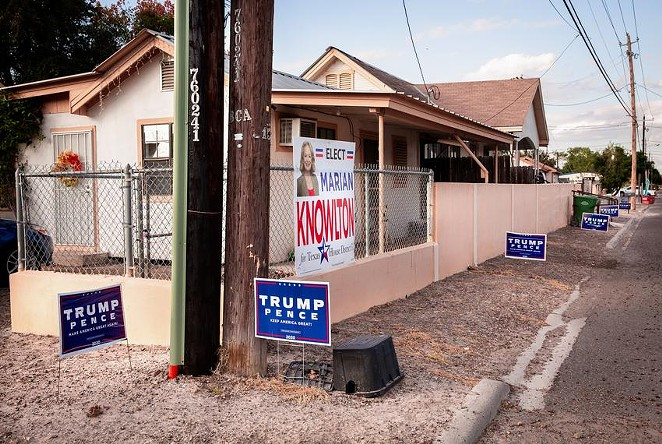Signs for former President Donald Trump lined a street near downtown Rio Grande City last year. - TEXAS TRIBUNE / JASON GARZA