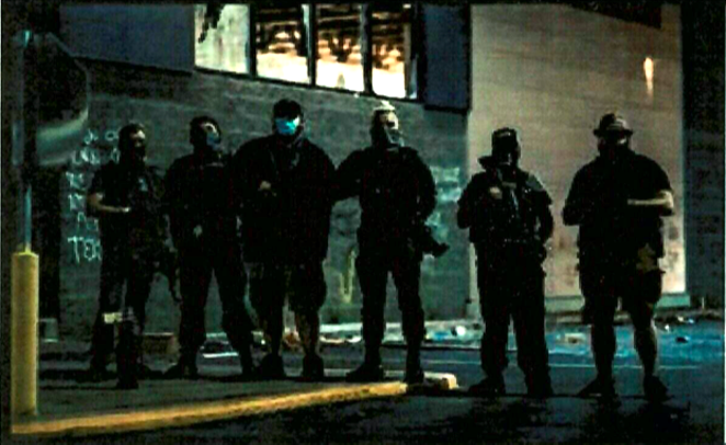 Federal authorities say a witness identified Boerne man Ivan Harrison Hunter in this photo of far-right Boogaloo Bois who were present at George Floyd protests in Minneapolis. - FBI