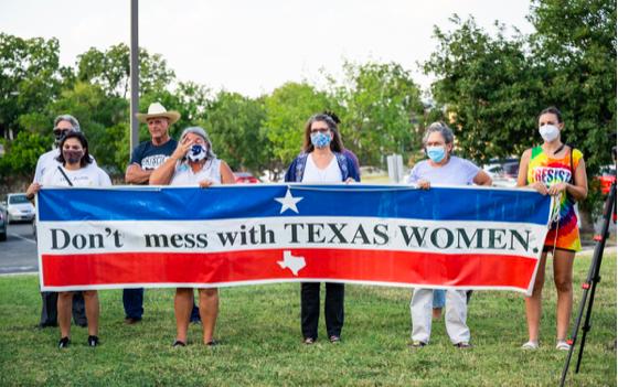 Women in San Antonio protest Texas' new abortion law last month. - JAIME MONZON