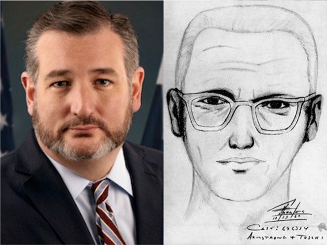A group says it has identified the Zodiac Killer — contrary to the popular meme, the culprit is not Ted Cruz. - COURTESY PHOTO, U.S. SENATE / WIKIMEDIA COMMONS, SAN FRANCISCO POLICE DEPARTMENT