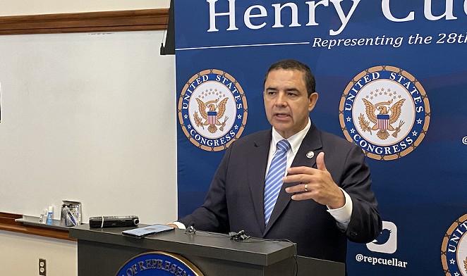 U.S. Rep. Henry Cuellar speaks during a Friday appearance in San Antonio. - SANFORD NOWLIN