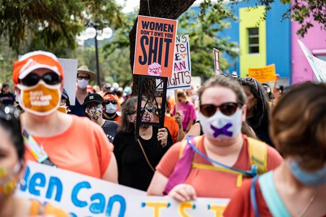 San Antonio marchers protest the state's abortion ban last weekend. - JAIME MONZON