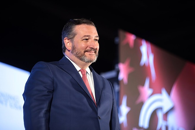 U.S. Sen. Ted Cruz smirks from the stage at a 2019 event hosted by conservative group Turning Point USA. - WIKIMEDIA COMMONS / GAGE SKIDMORE