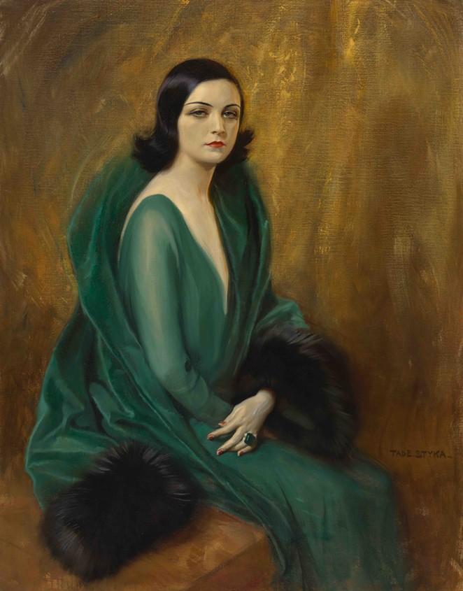 Tade Styka (French, born Poland, 1889–1954), Pola Negri, ca. 1924, Oil on canvas, unframed: 54 1/4 x 42 1/2 in. (137.8 x 108 cm), framed: 66 3/4 x 55 in. (169.5 x 139.7 cm), Bequest of Pola Negri, 87.39.1 - COURTESY OF SAN ANTONIO MUSEUM OF ART