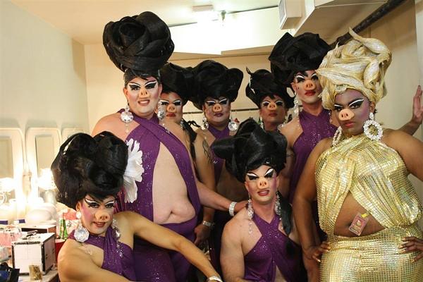 """Piglygamists"" backstage at Cornyation - COURTESY OF RENE ROBERTS"