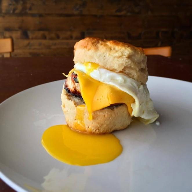 Bexar Pub's bringing back a Folc favorite biscuit sandwich. - COURTESY OF FOLC