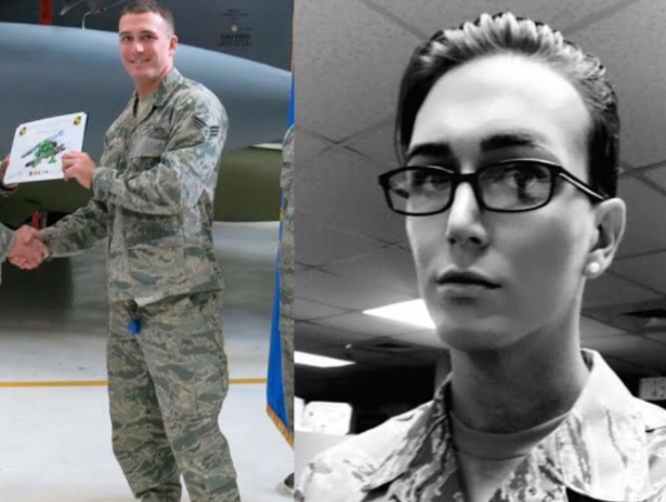 Sgt. Jamie Hash before and after transitioning into a woman in the Air Force. - SGT. JAMIE HASH