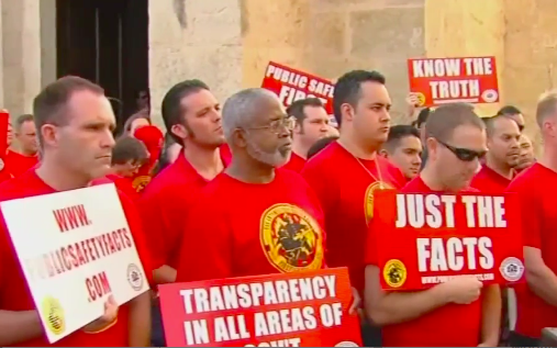 SAPFA members protest outside of City Hall in October. - NEWS4SA VIDEO SCREENSHOT