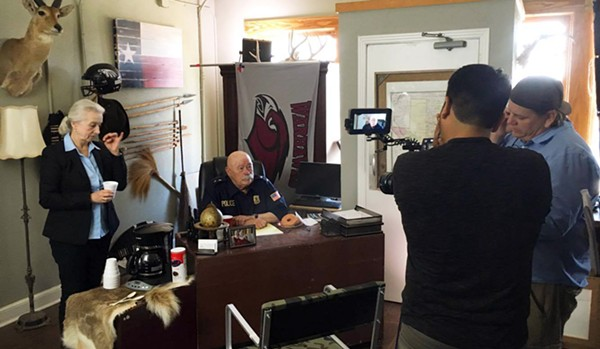 Barry Corbin on the set of The Margarita Man in San Antonio. Corbin's scenes were shot at the Alamo City Bail Bonds on South Frio St. - KRYSTAL JONES/SAN ANTONIO FILM COMMISSION